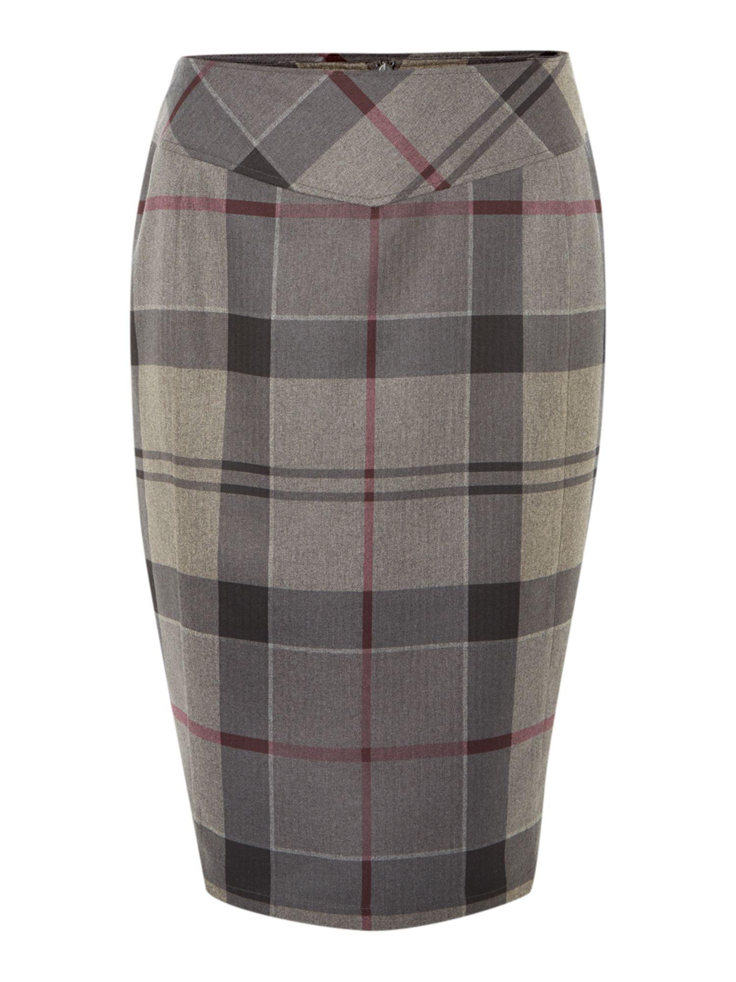 barbour mini lindores tartan pencil skirt in lyst