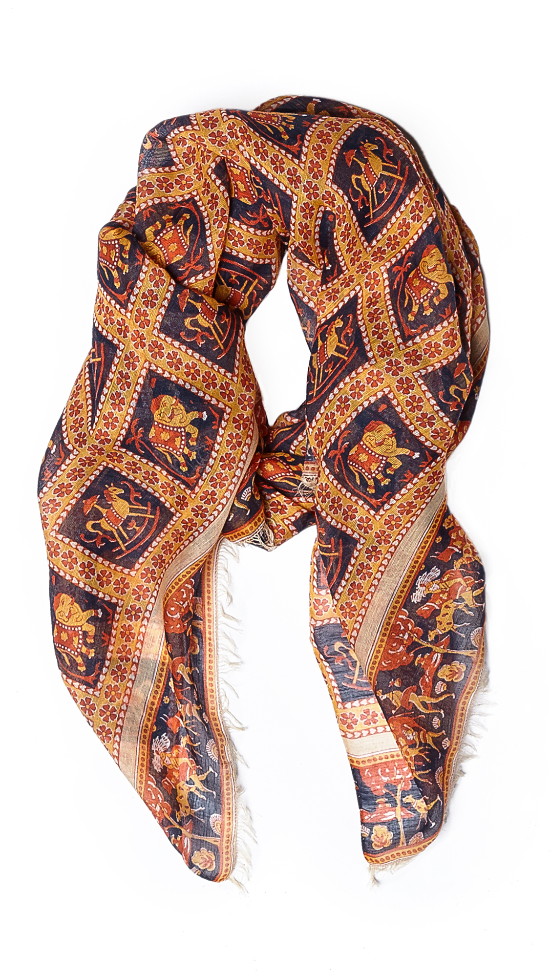 s elephant print scarf in blue for lyst