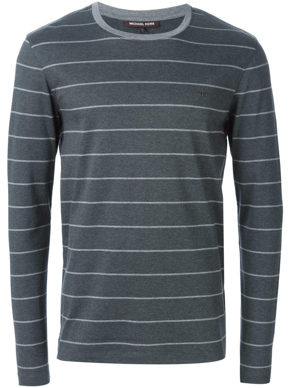 michael kors striped longsleeved t shirt in gray for men. Black Bedroom Furniture Sets. Home Design Ideas