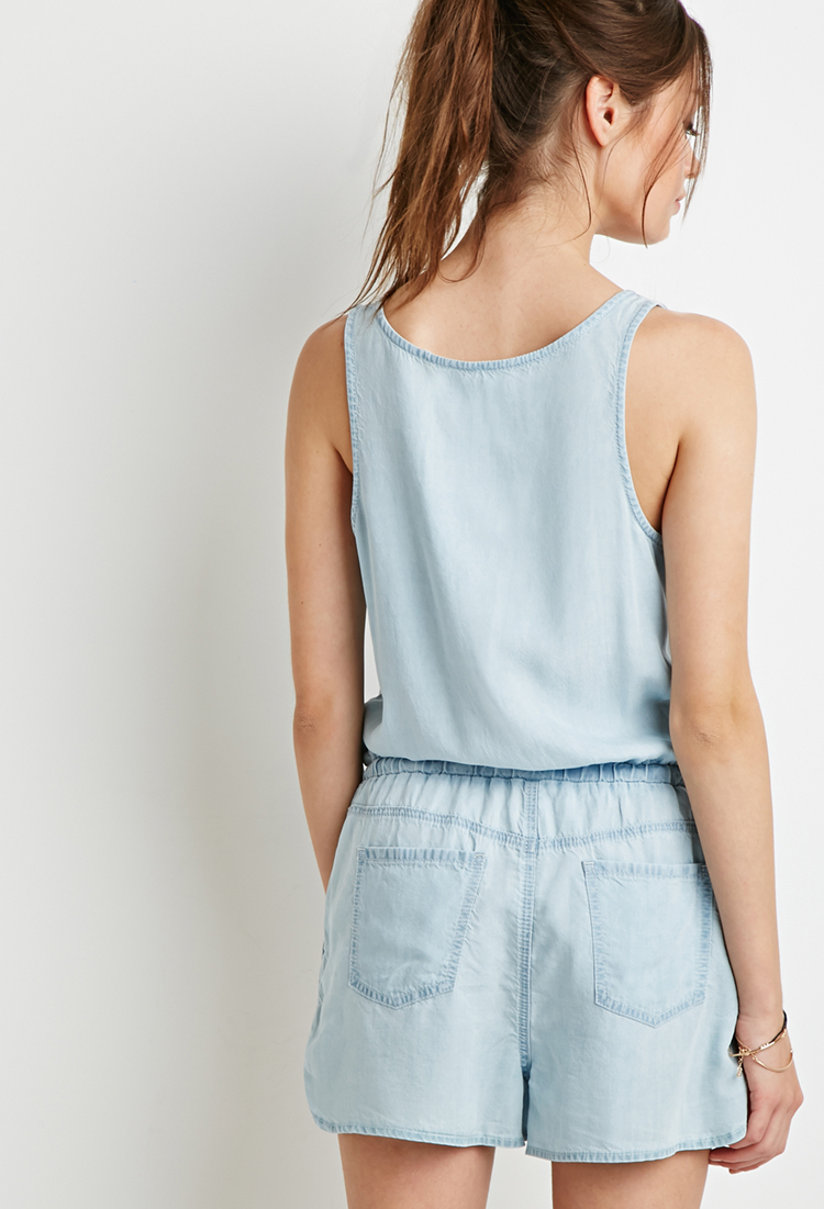 Forever 21 chambray utility romper in blue lyst for Chambray 7 s