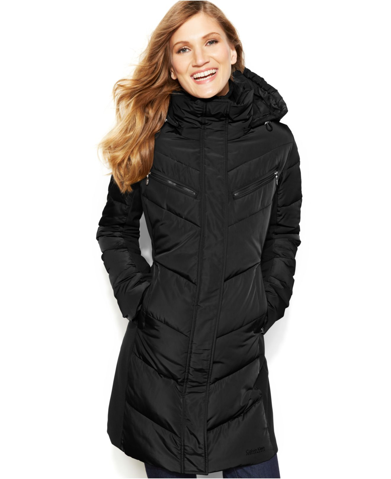 Calvin klein Hooded Quilted Colorblock Puffer Coat in ...
