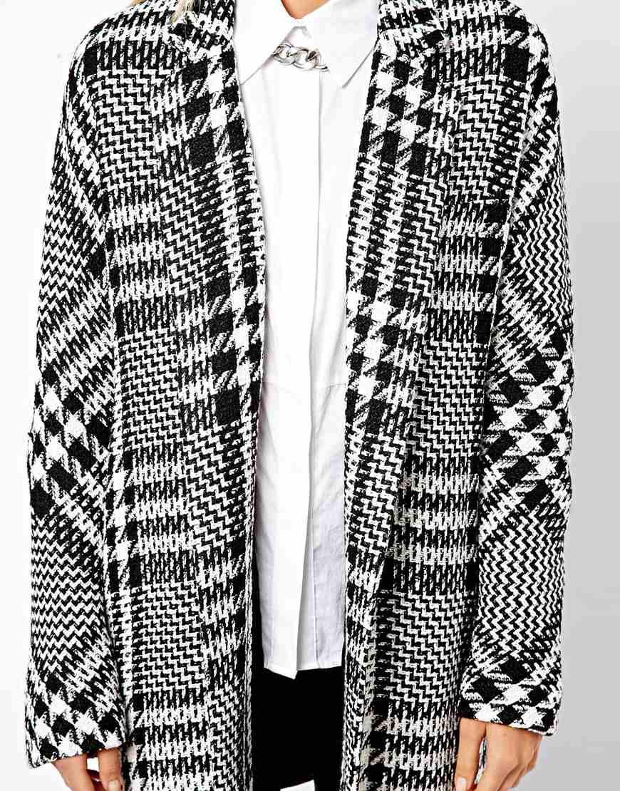 ed57faafd50 Lyst - Mango Oversized Boyfriend Checked Coat in Black