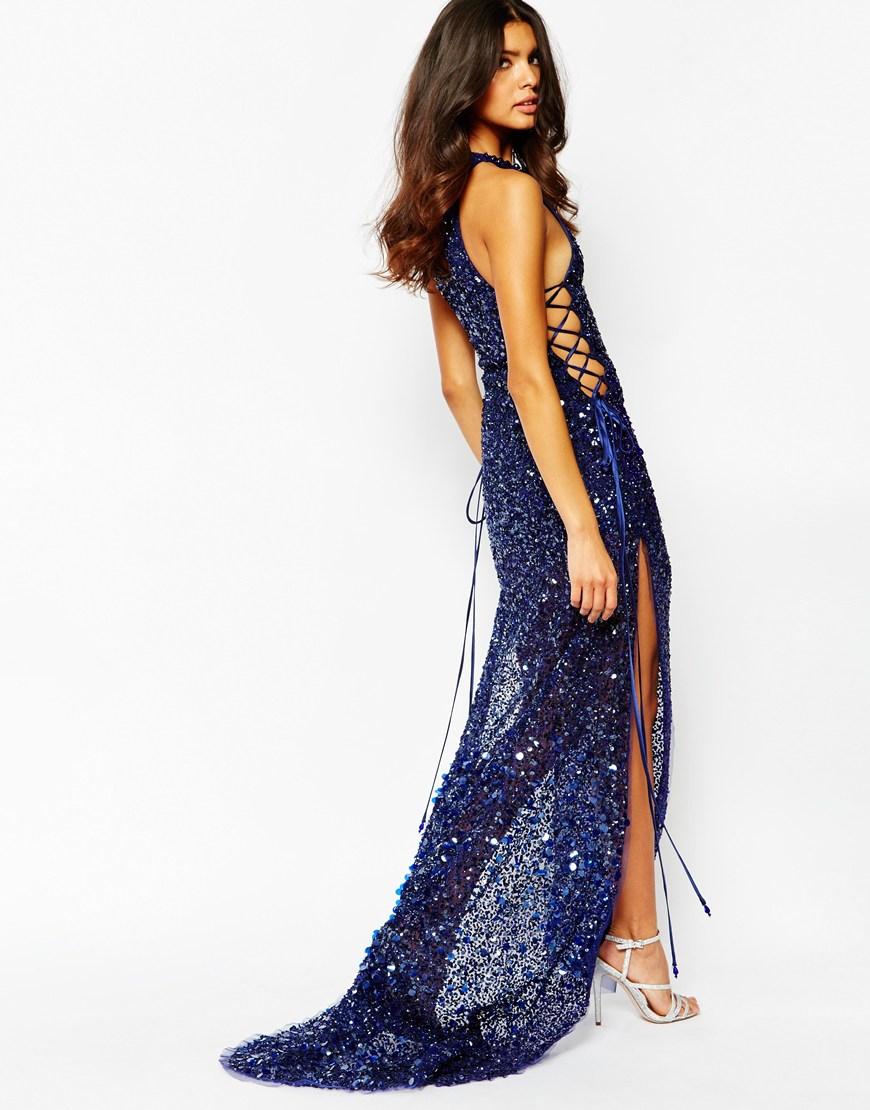 fd97b7c3e5c A Star Is Born Jewel-Encrusted Crepe Maxi Dress in Blue - Lyst