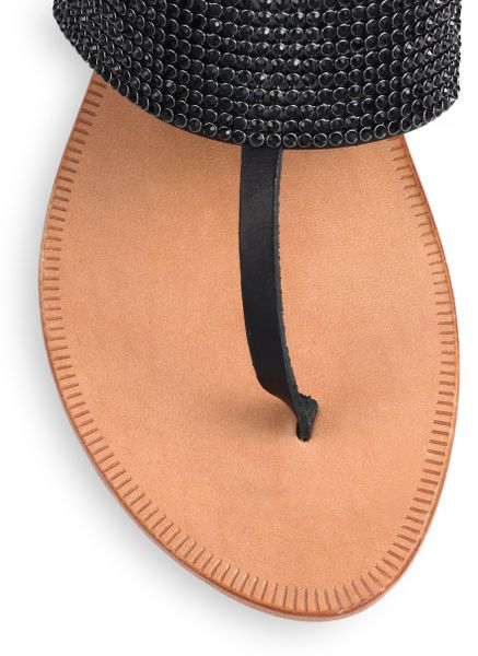 Joie Nice Jeweled Thong Sandals In Black Lyst