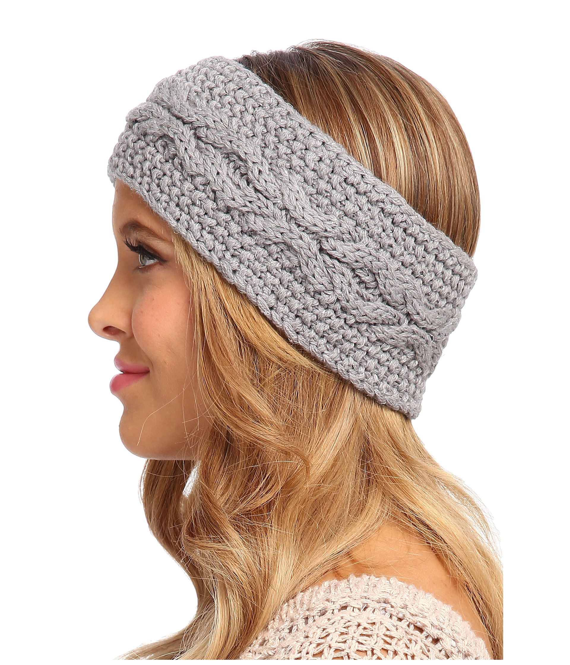 Lyst Ugg Nyla Cable Headband With Lurex In Gray