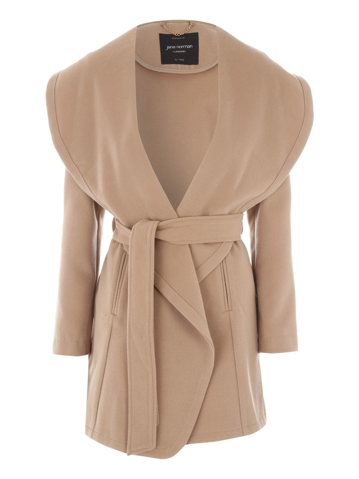Lyst Jane Norman Camel Belted Wrap Coat In Natural