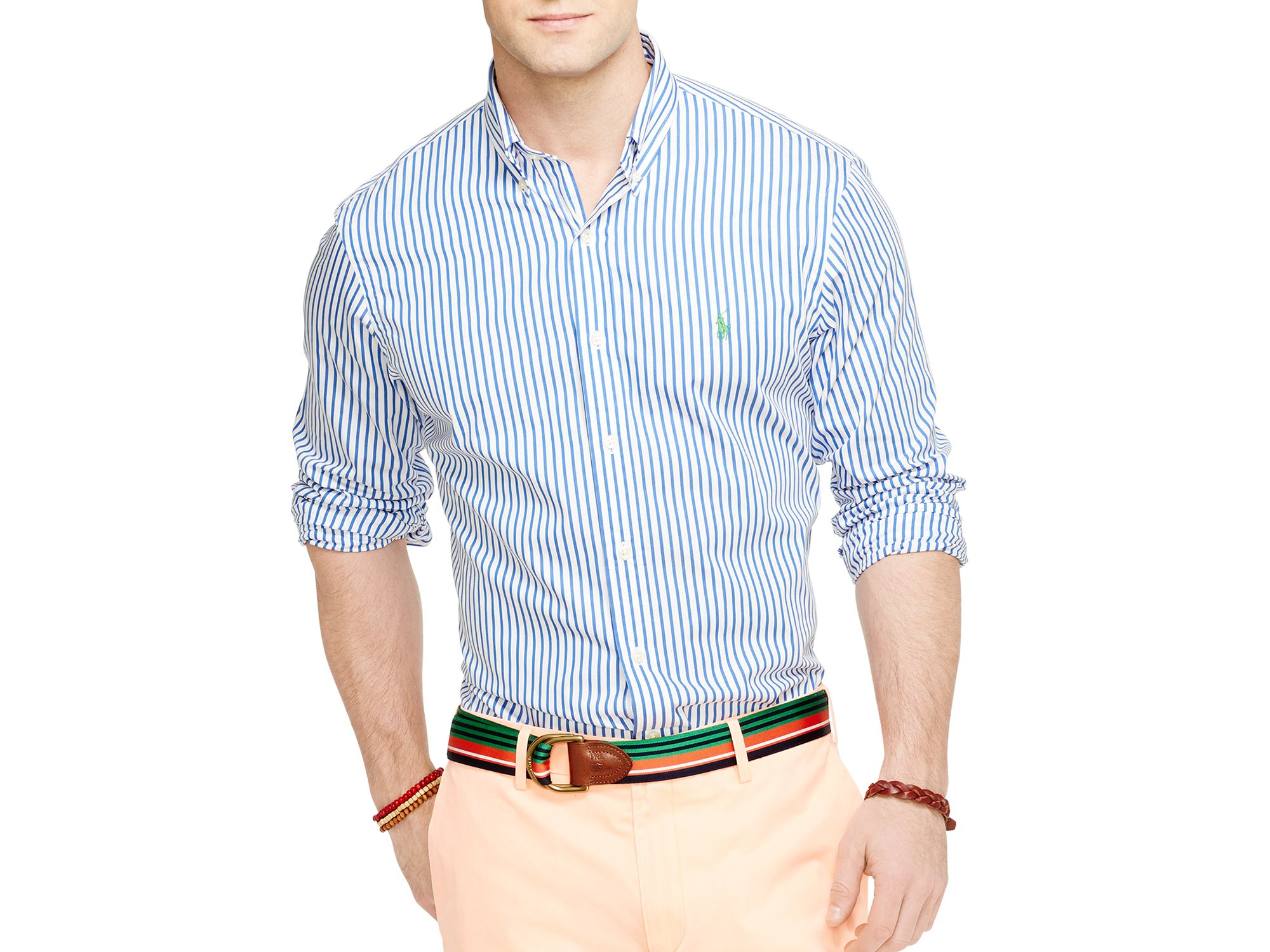 6105e6e4 ... aliexpress lyst ralph lauren polo bengal striped poplin button down  shirt in 4faa6 35ff3