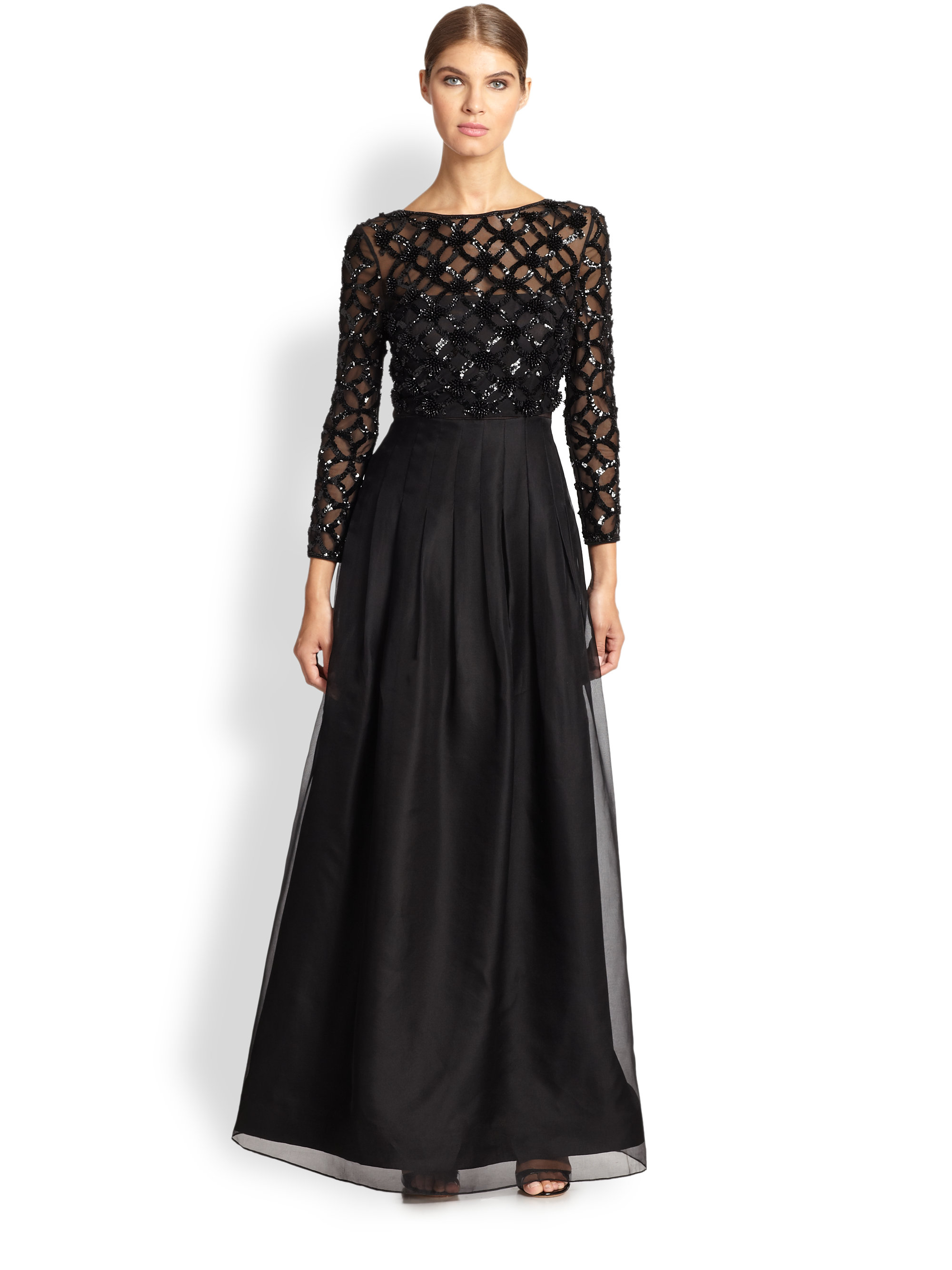 Lyst Kay Unger Pleated Sequined Detail Gown In Black
