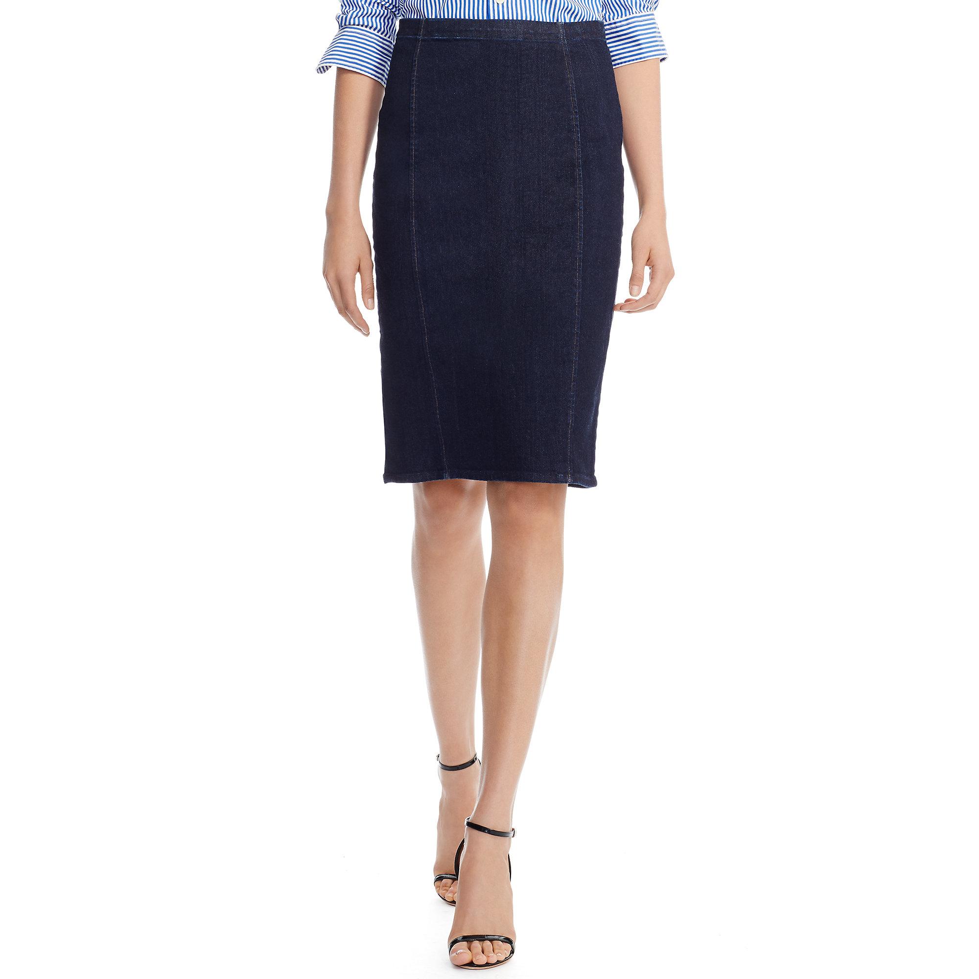 Polo ralph lauren Denim Pencil Skirt in Blue | Lyst