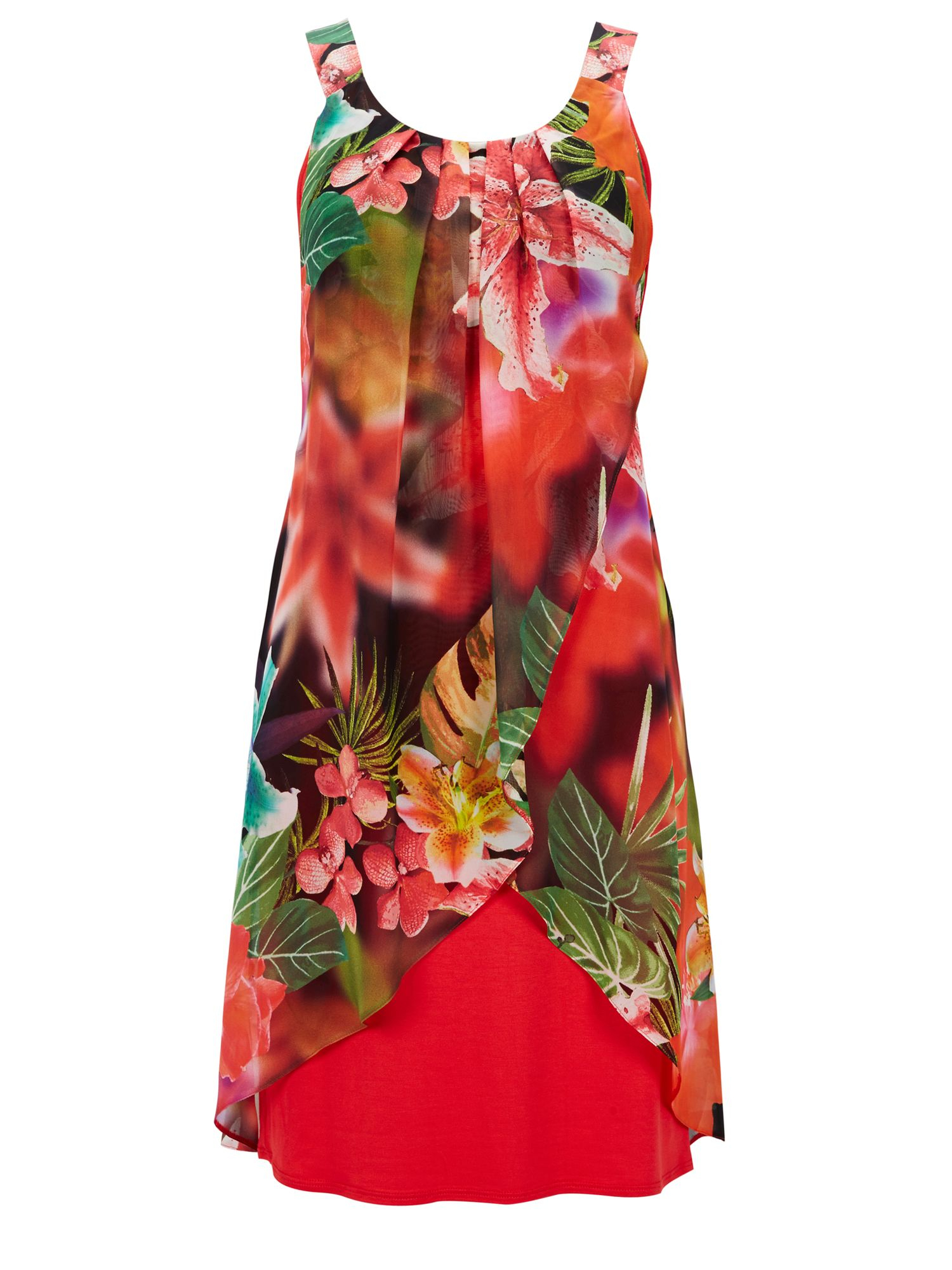 Wallis Tropical Floral Chiffon Dress In Red Multi