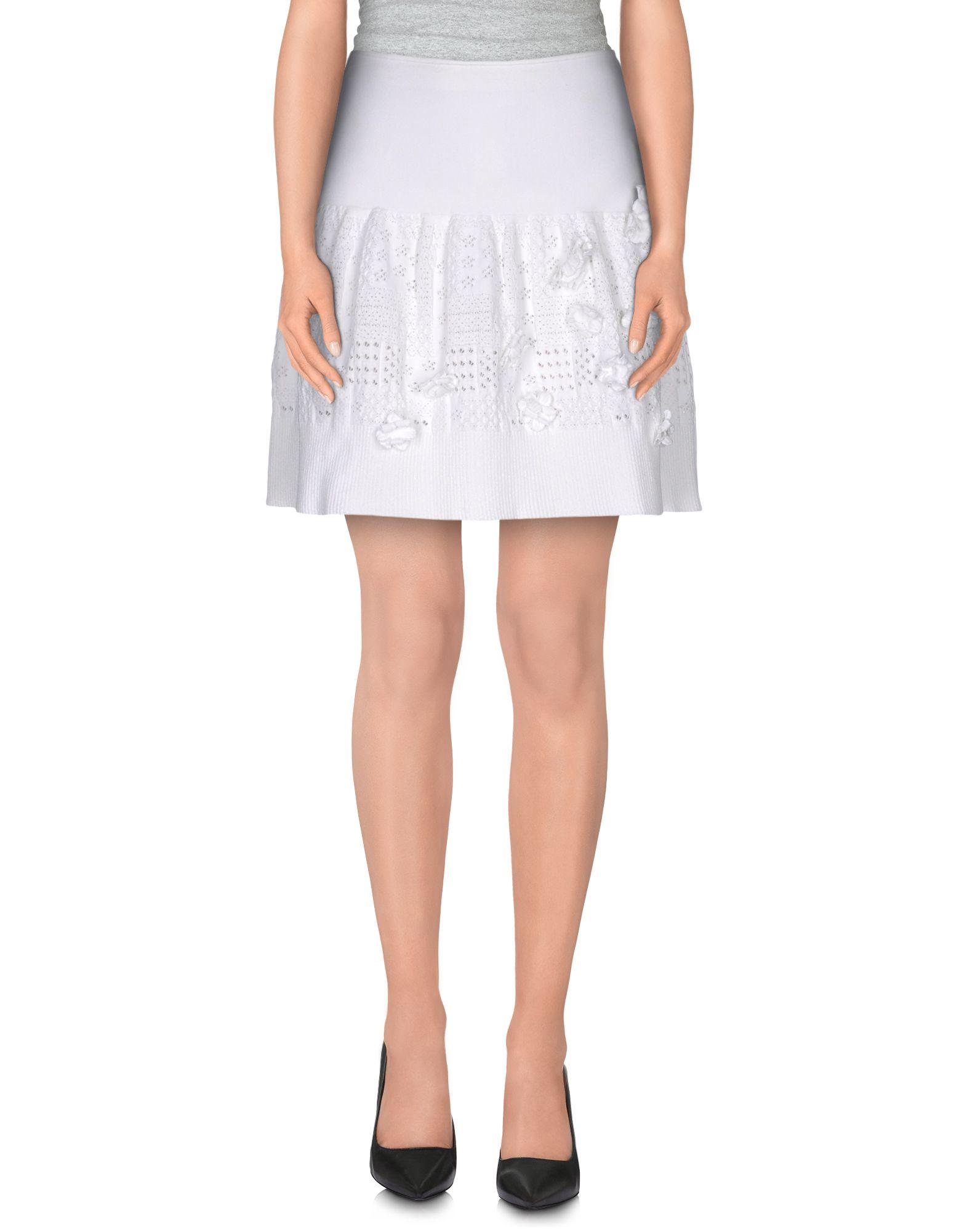 valentino knee length skirt in white lyst