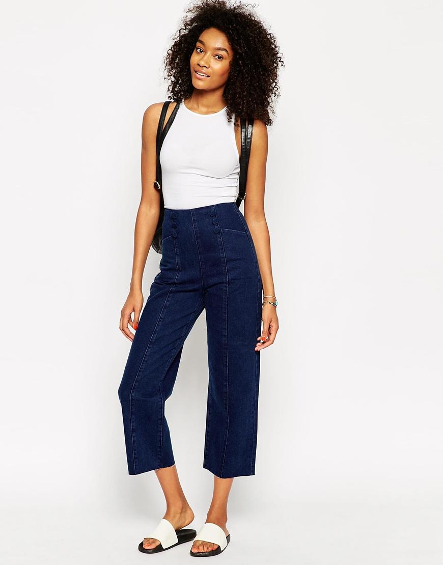 Asos High Waist Wide Leg Jeans In Indigo With Matelot Detail in ...