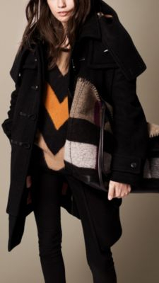 Burberry Oversize Wool Cashmere Duffle Coat in Black | Lyst