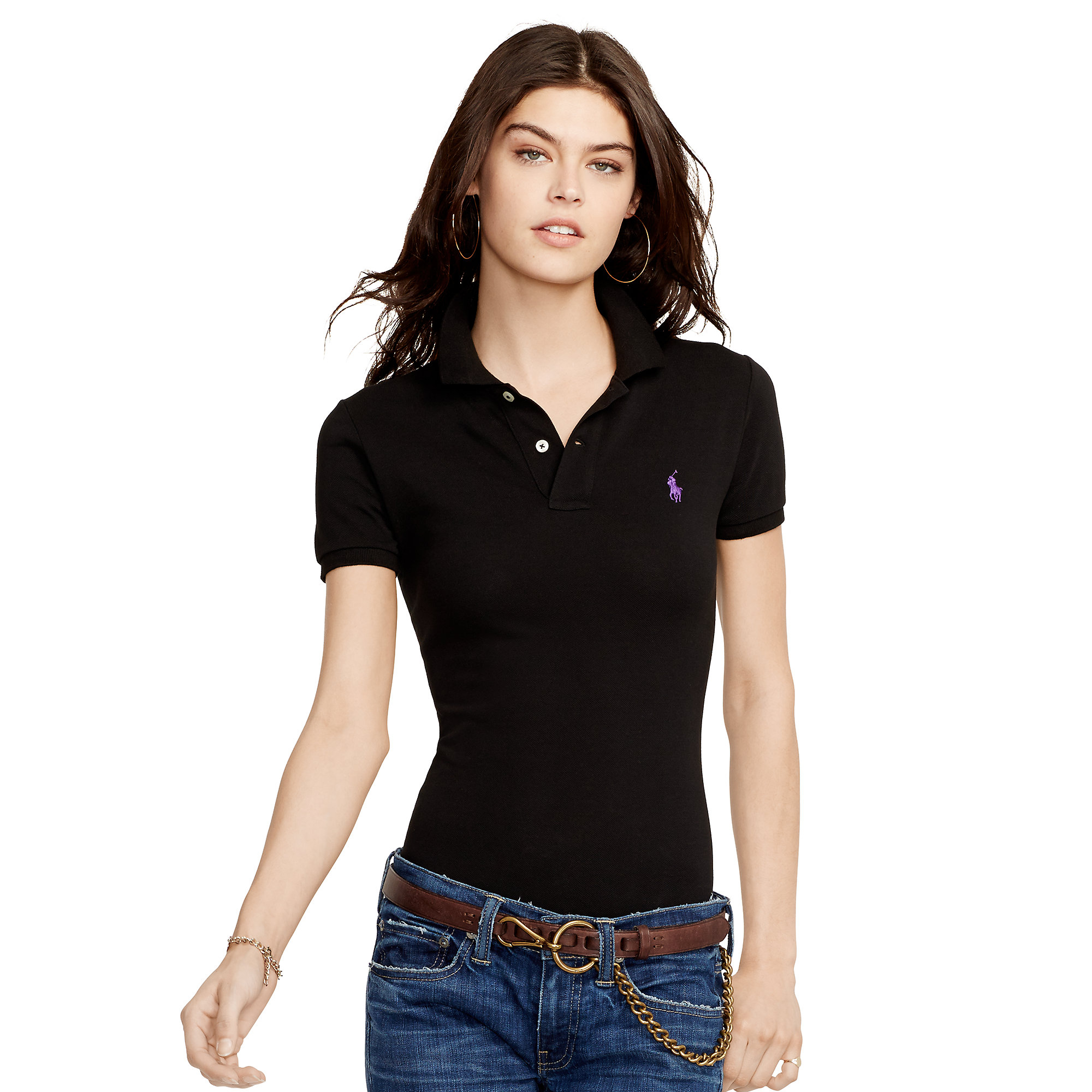 Lyst polo ralph lauren skinny fit polo shirt in black for Black fitted polo shirt