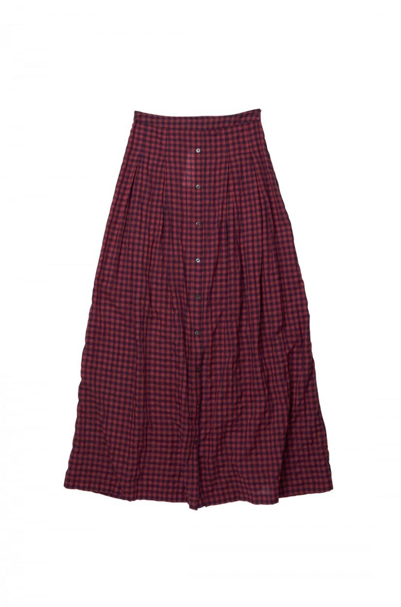 tess giberson skirt w placket in gingham