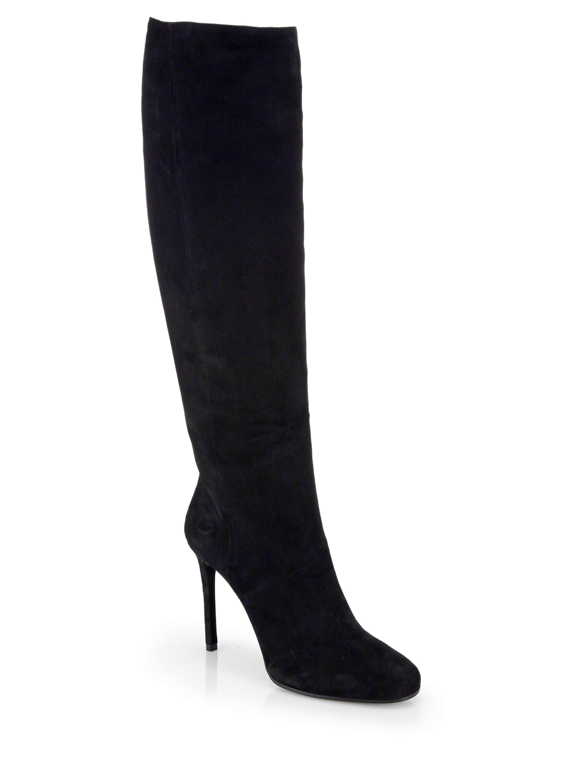 prada suede knee high boots in black nero lyst