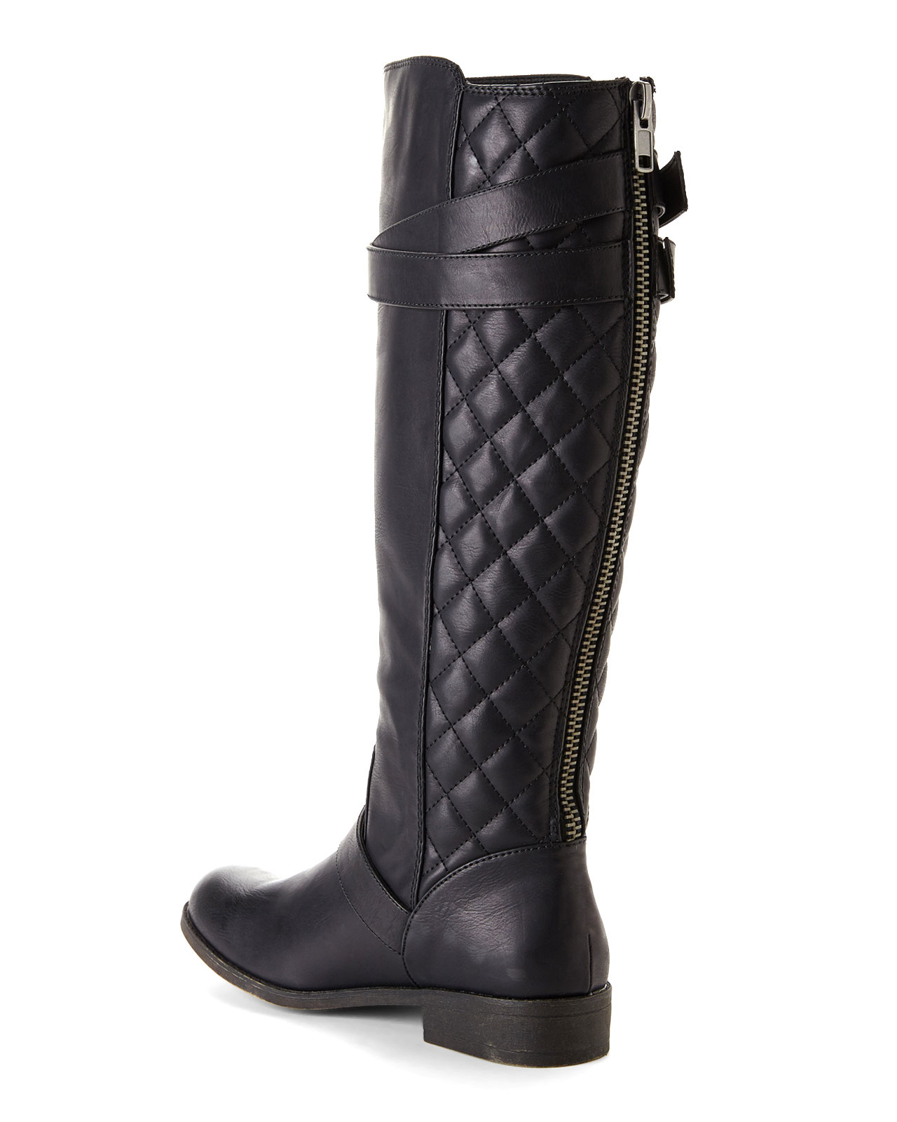 boots black herstyle quilted quilt over zipper buckle neekkaa riding knee