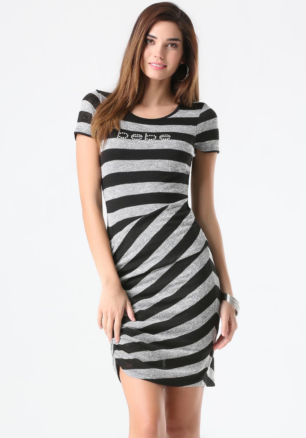 2d311899ac8 Bebe Logo Striped Sweater Dress in Black - Lyst