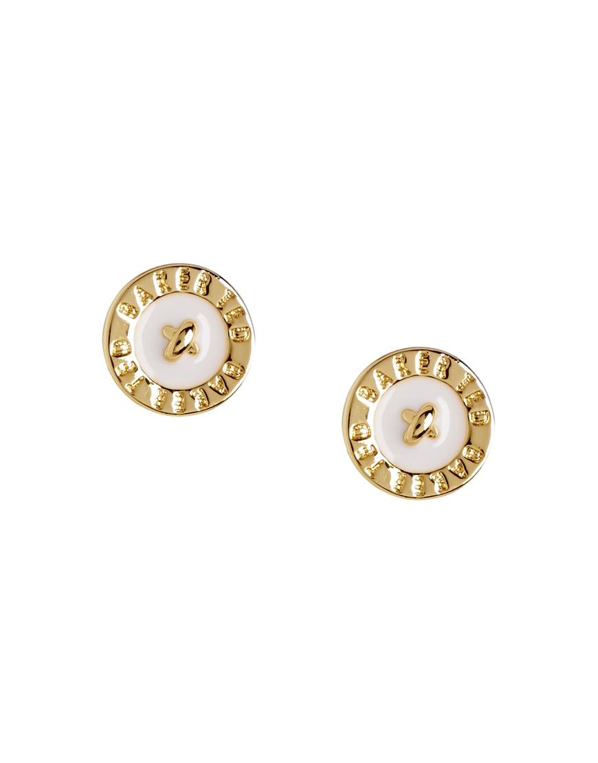 Lyst Ted Baker Enamel Logo Button Stud Earrings In White