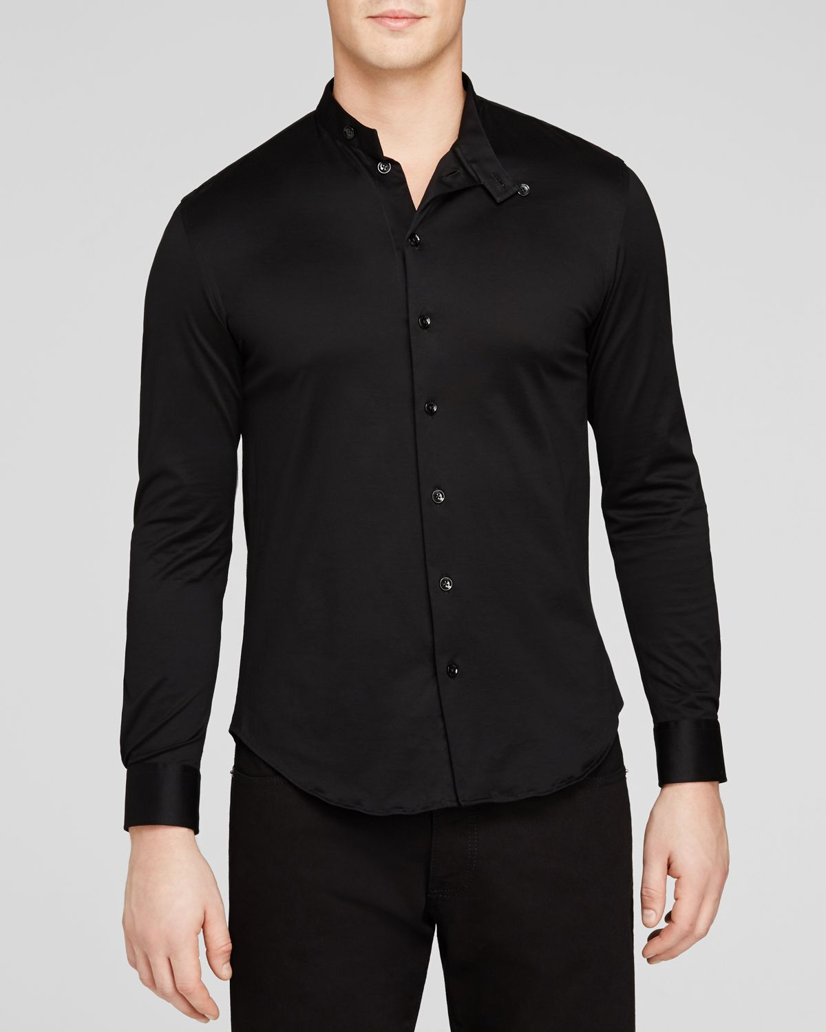 Armani Button Down Shirt - Classic Fit in Black for Men | Lyst