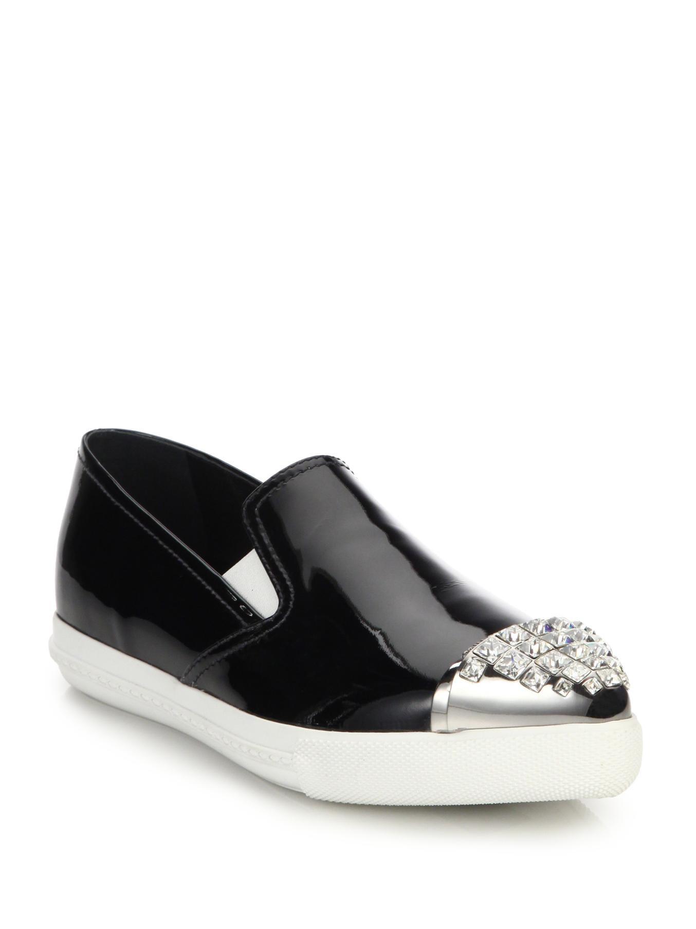 miu miu embellished patent leather sneakers in black lyst. Black Bedroom Furniture Sets. Home Design Ideas