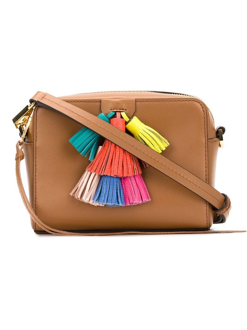 3b1d2abd9a18 Lyst - Rebecca Minkoff Multi Tassel Cross Body Bag in Brown