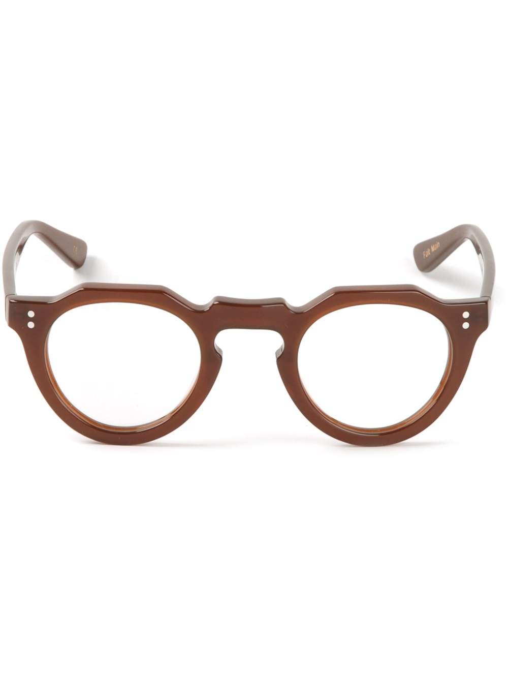 Lesca Round Glasses In Brown For Men Lyst
