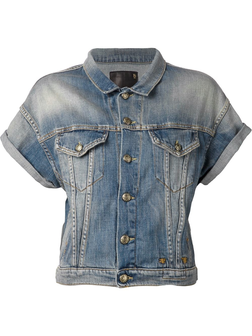 R13 Short Sleeve Denim Jacket in Blue | Lyst
