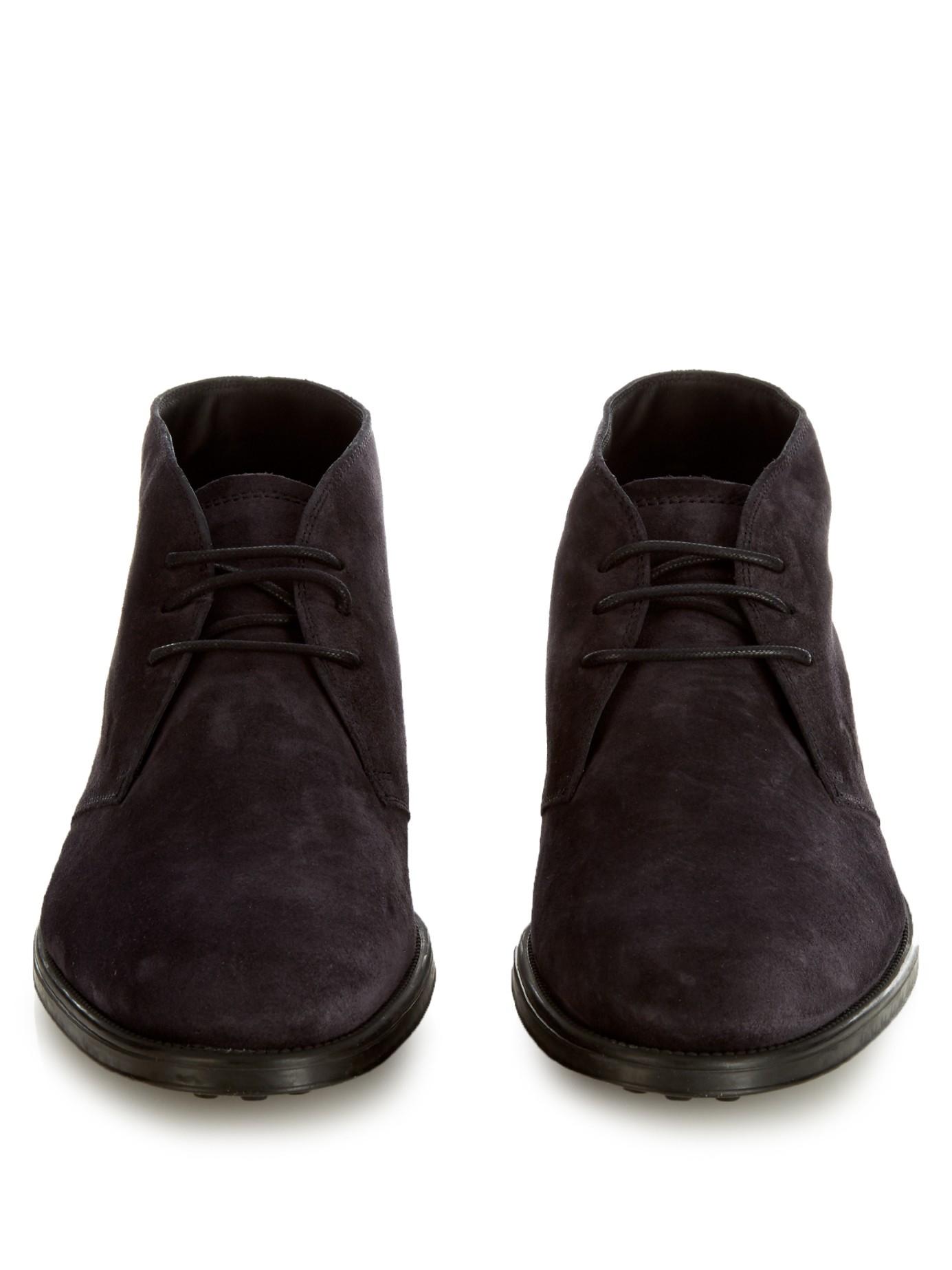 tod 39 s suede desert boots in blue for men lyst. Black Bedroom Furniture Sets. Home Design Ideas