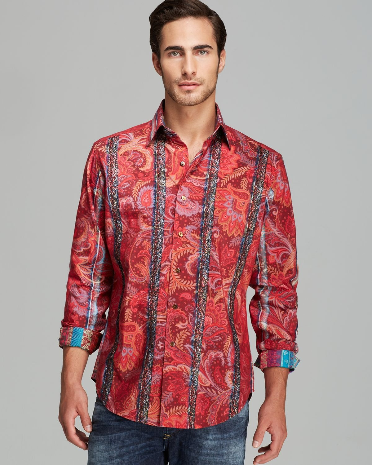 Robert graham grand chief woven button down shirt for Where are robert graham shirts made