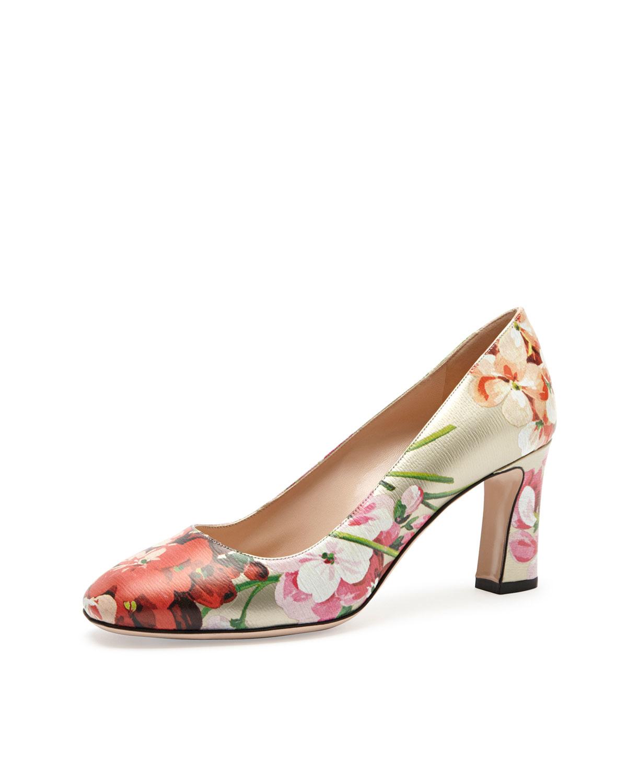 64f7b254ef3c42 Gucci Flower Print Heels - Flowers Healthy