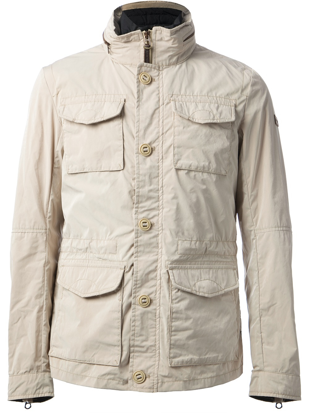 Armani Jeans Layered Field Jacket In Beige For Men Nude