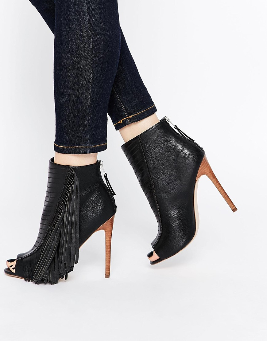 Asos Night Embody Fringed Peep Toe Boots in Black | Lyst