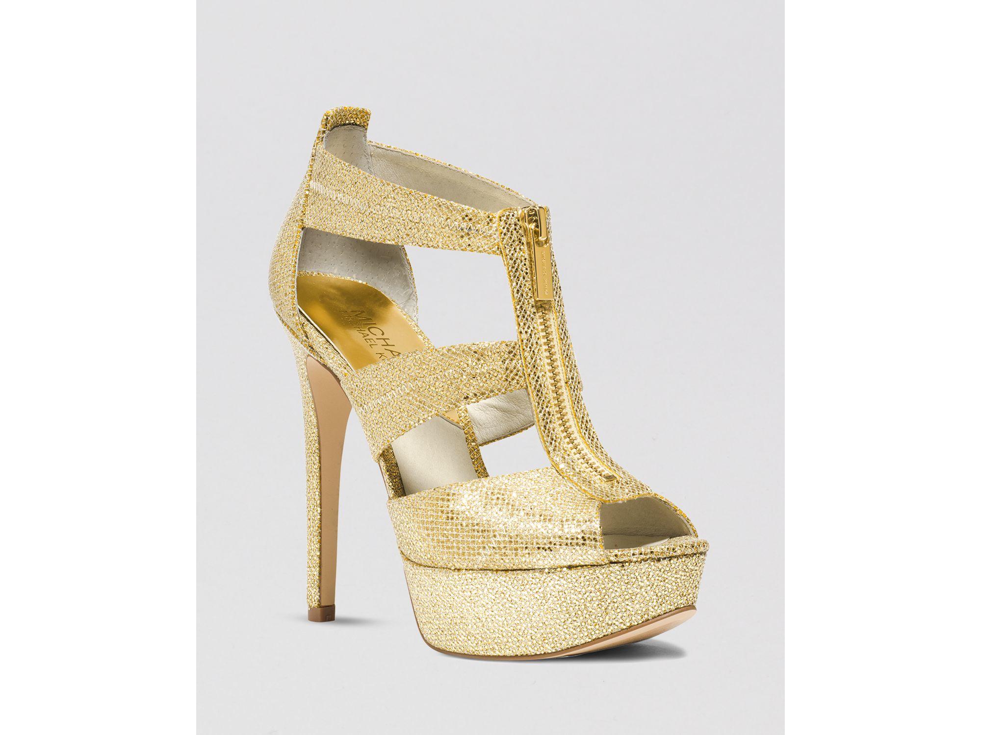 8604e46019fc Lyst - MICHAEL Michael Kors Open Toe Platform Evening Sandals ...