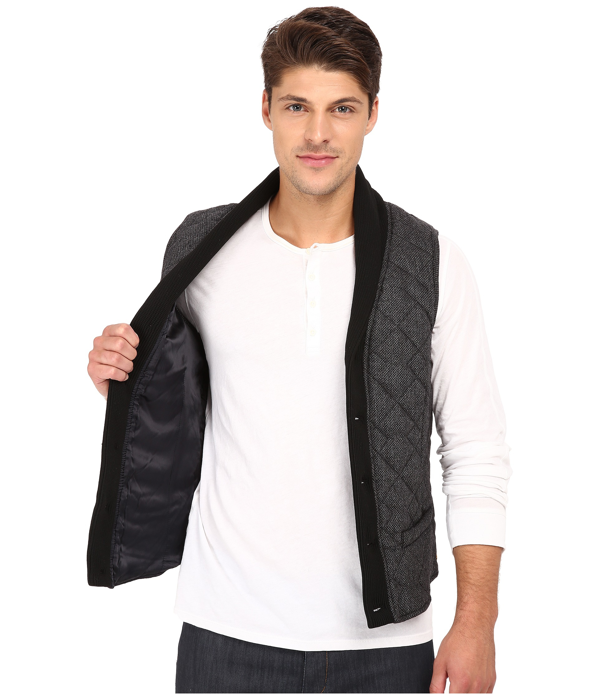 Scotch Amp Soda Wool Shawl Vest In Gray For Men Lyst