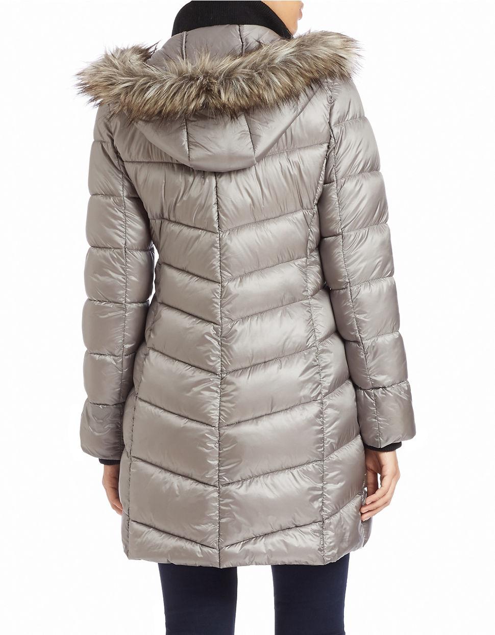 Bernardo Faux Fur Trimmed Puffer Coat In Gray Lyst