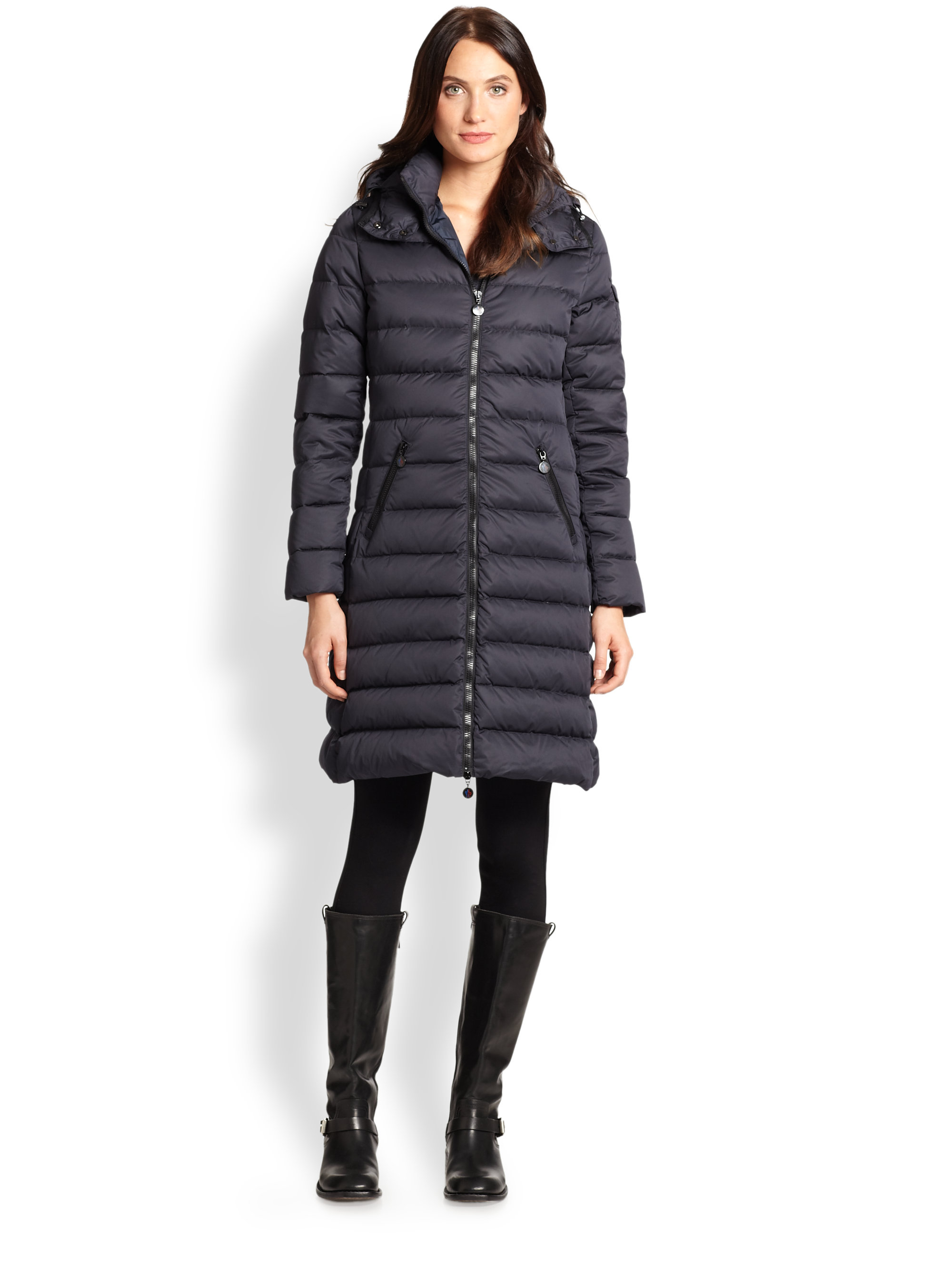 moncler moka matte puffer jacket in blue lyst. Black Bedroom Furniture Sets. Home Design Ideas