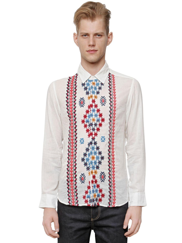 lyst paul joe embroidered cotton muslin shirt for men. Black Bedroom Furniture Sets. Home Design Ideas