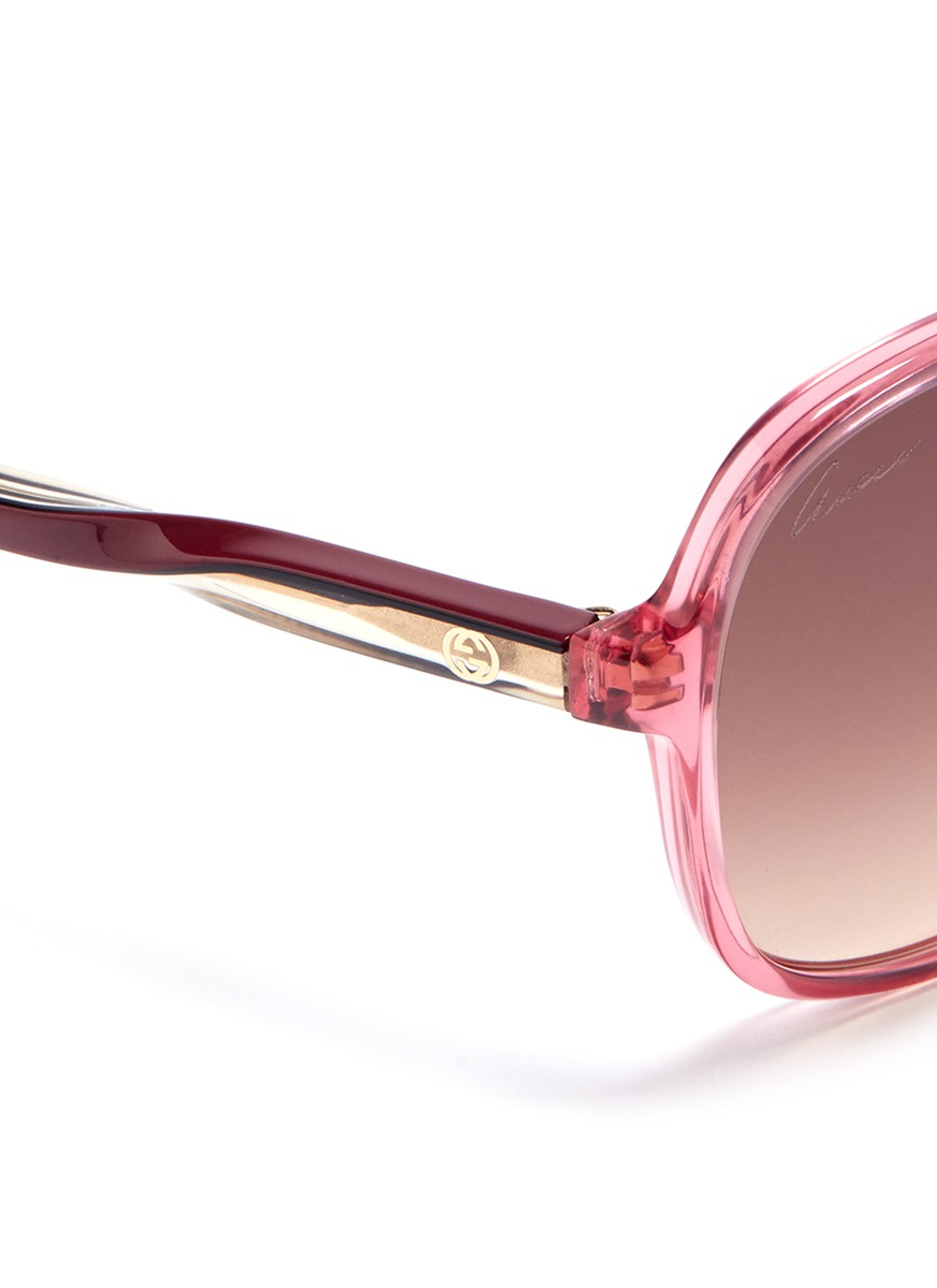 Lyst - Gucci Oversized Round Frame Sunglasses in Pink