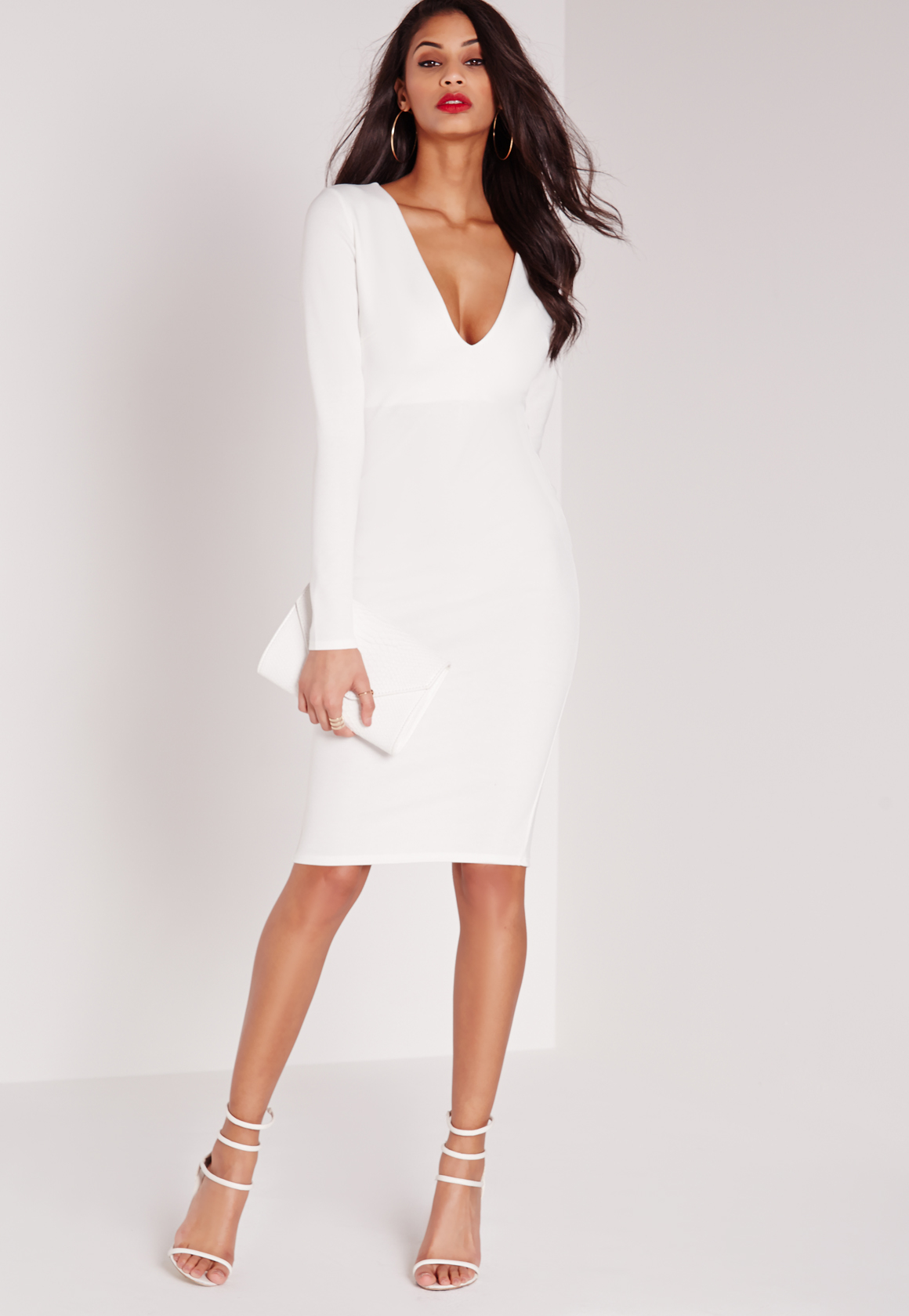 Missguided Ponte Long Sleeve Plunge Midi Dress White in White | Lyst
