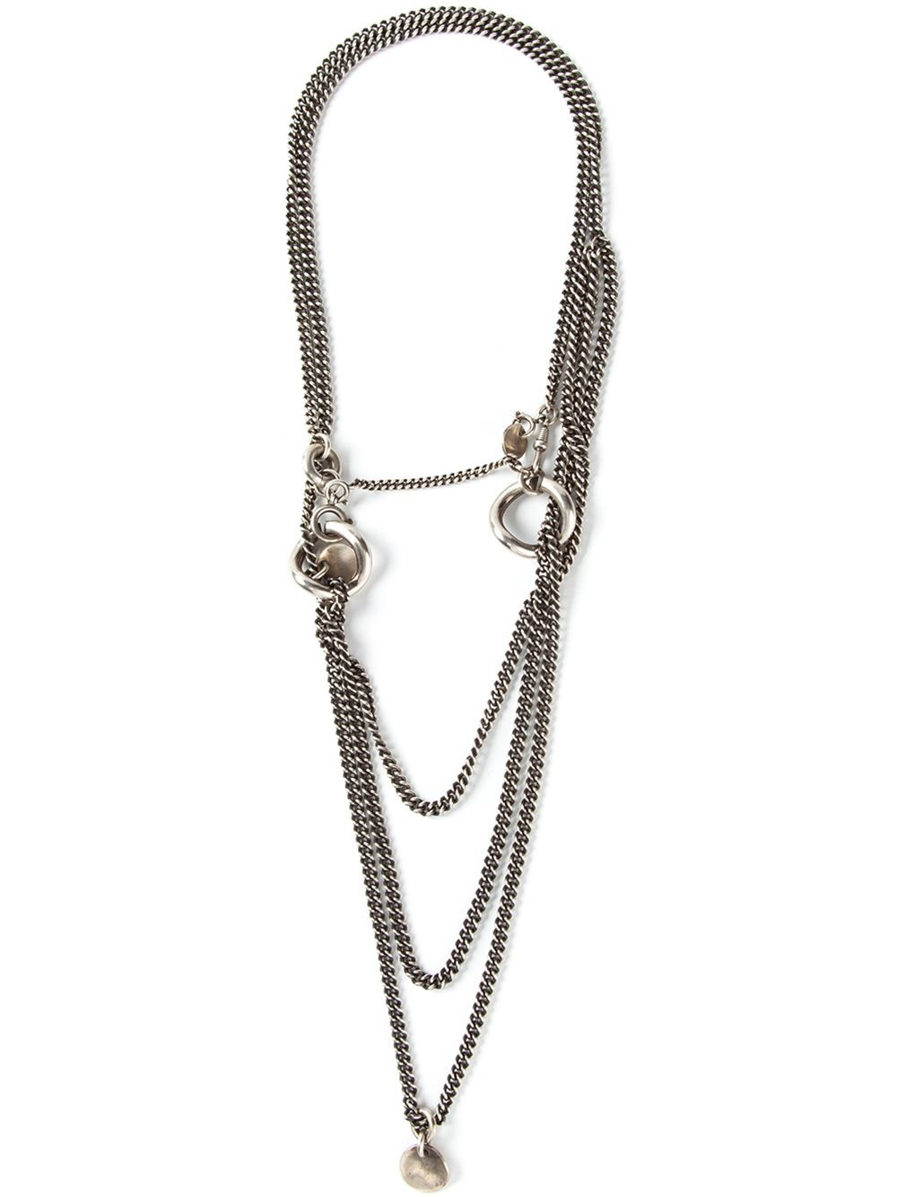 Ann Demeulemeester multi chain necklace - Metallic