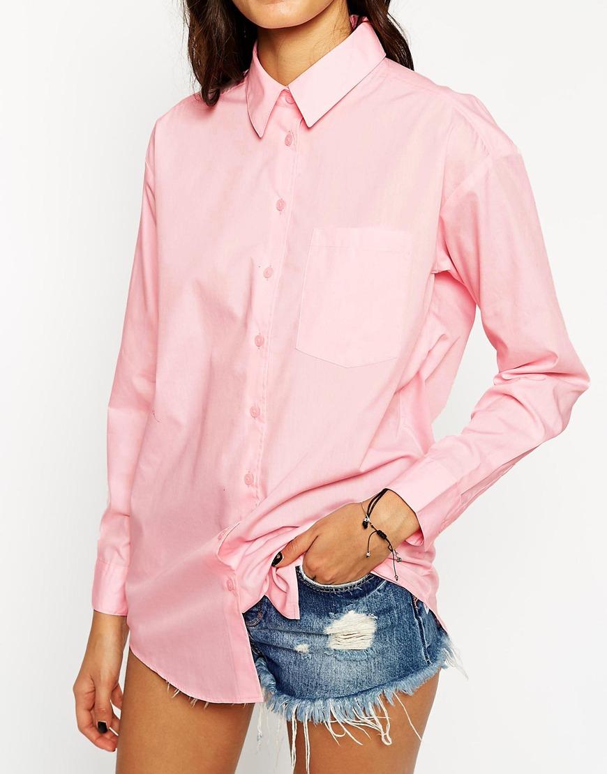 lyst asos boyfriend shirt in pink. Black Bedroom Furniture Sets. Home Design Ideas