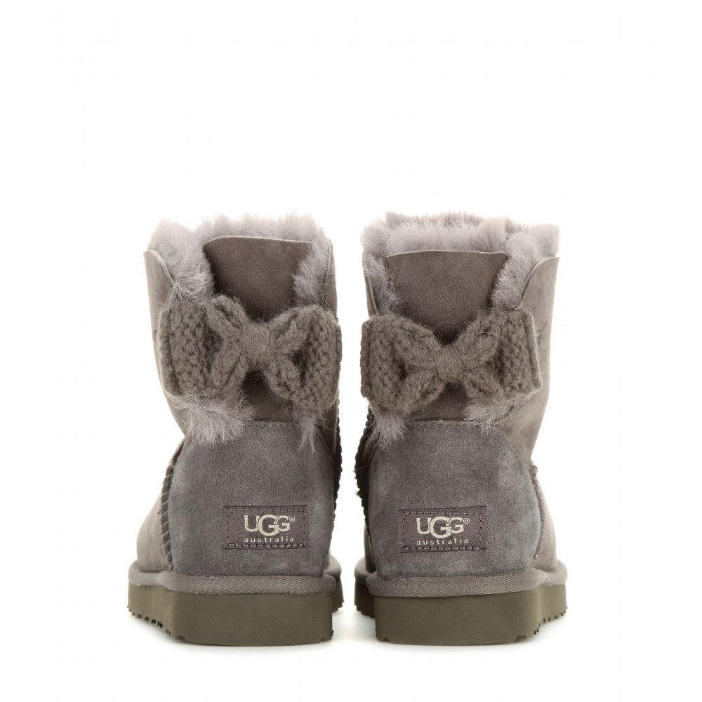 ... Lyst - Ugg Mini Bailey Bow Suede Boots in Gray ...