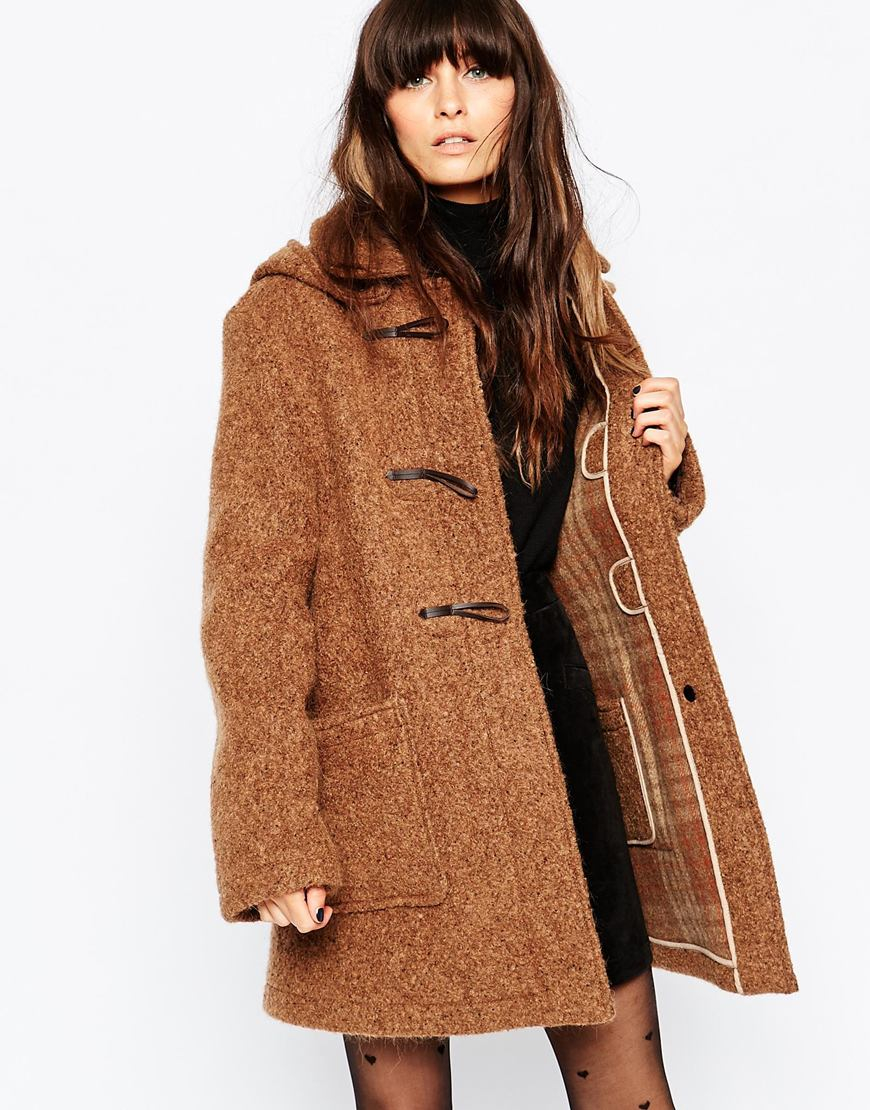 Gloverall Textured Duffle Coat in Brown | Lyst