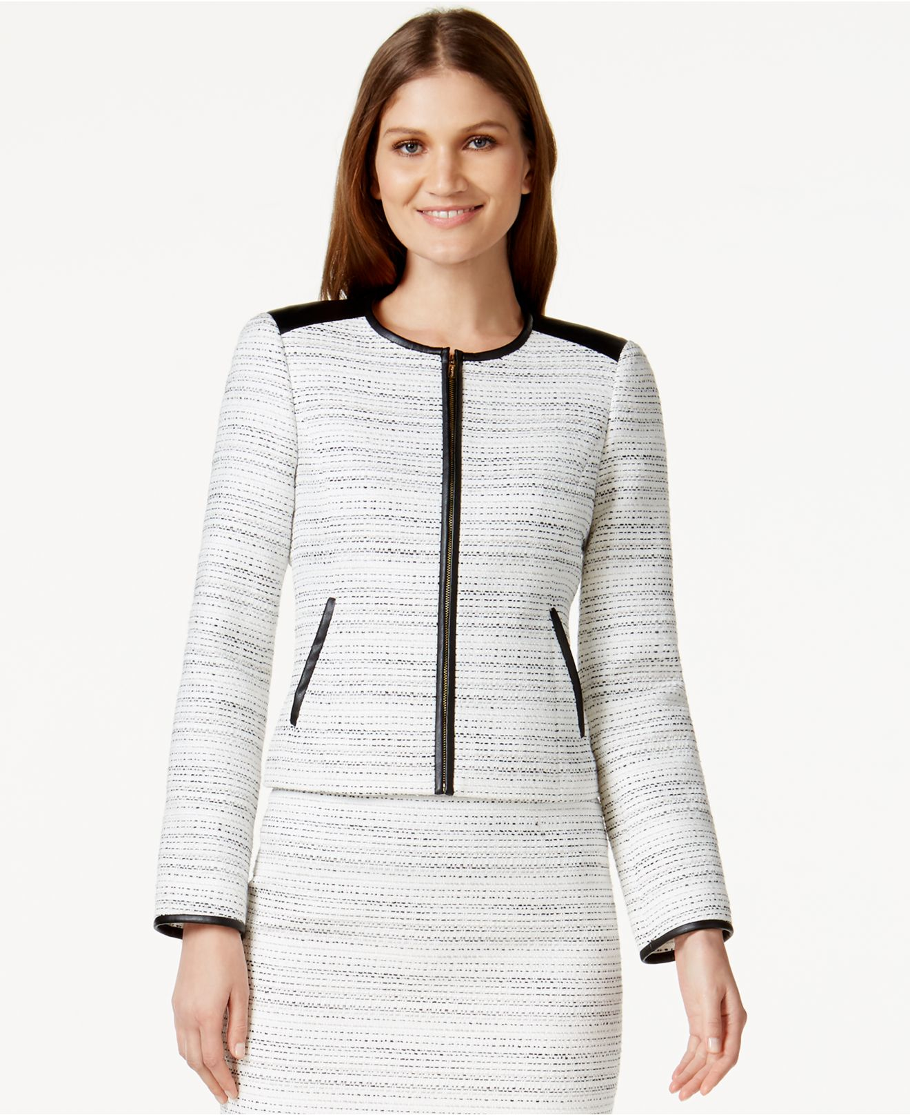 Calvin klein Petite Faux-leather-trim Tweed Jacket in White | Lyst