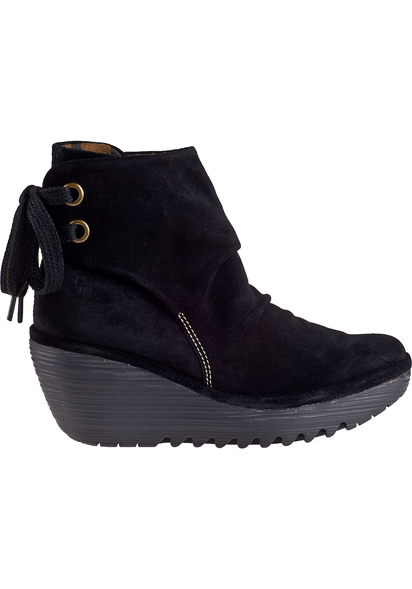 Lyst Fly London Yama Wedge Boot Black Suede In Black