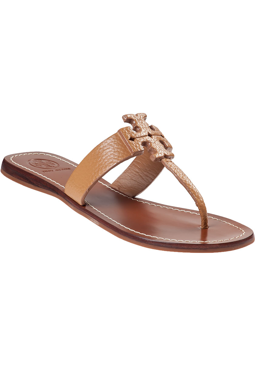 lyst tory burch moore thong sandal royal tan leather in. Black Bedroom Furniture Sets. Home Design Ideas