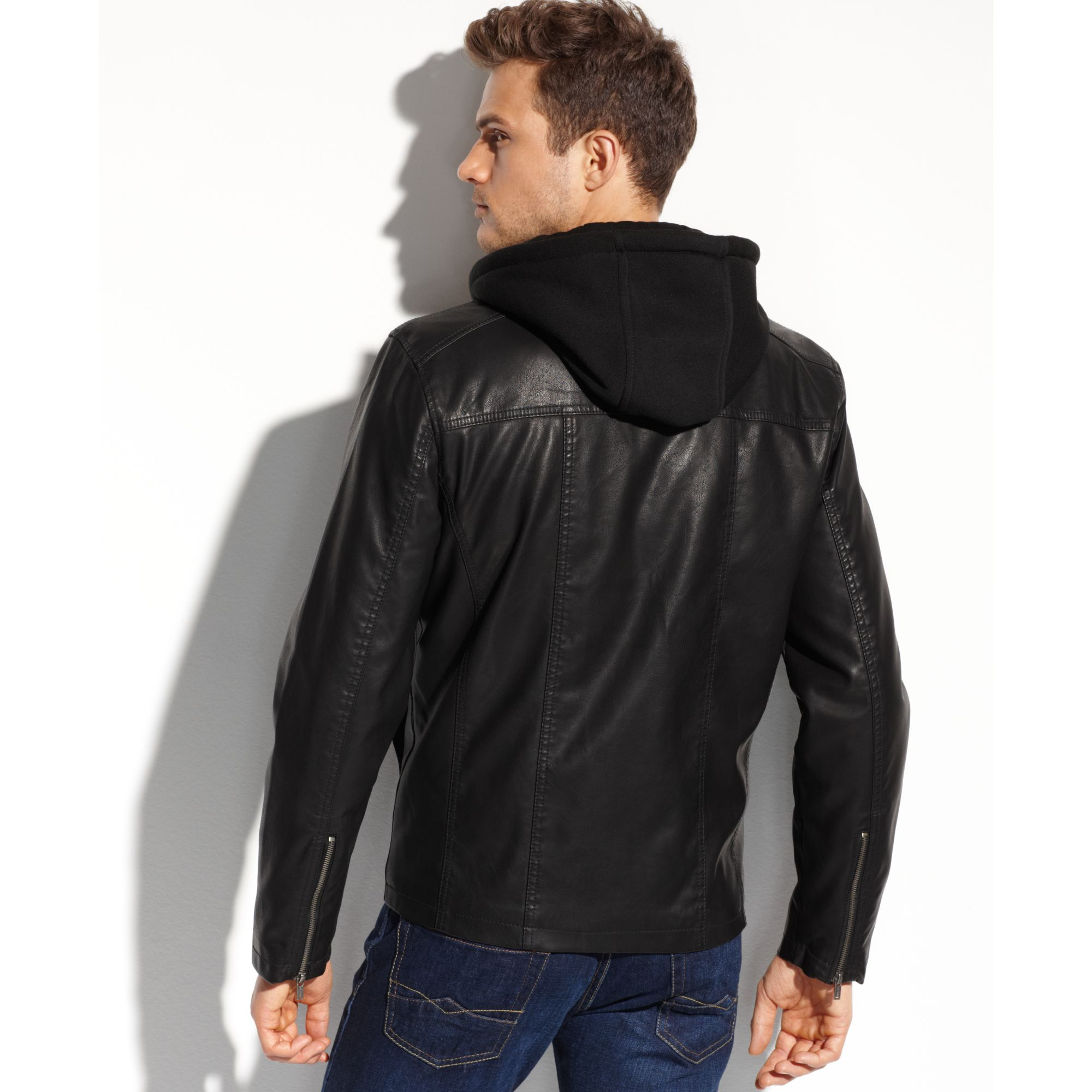 Lyst Guess Coats Faux Leather Fourpocket Hooded Jacket