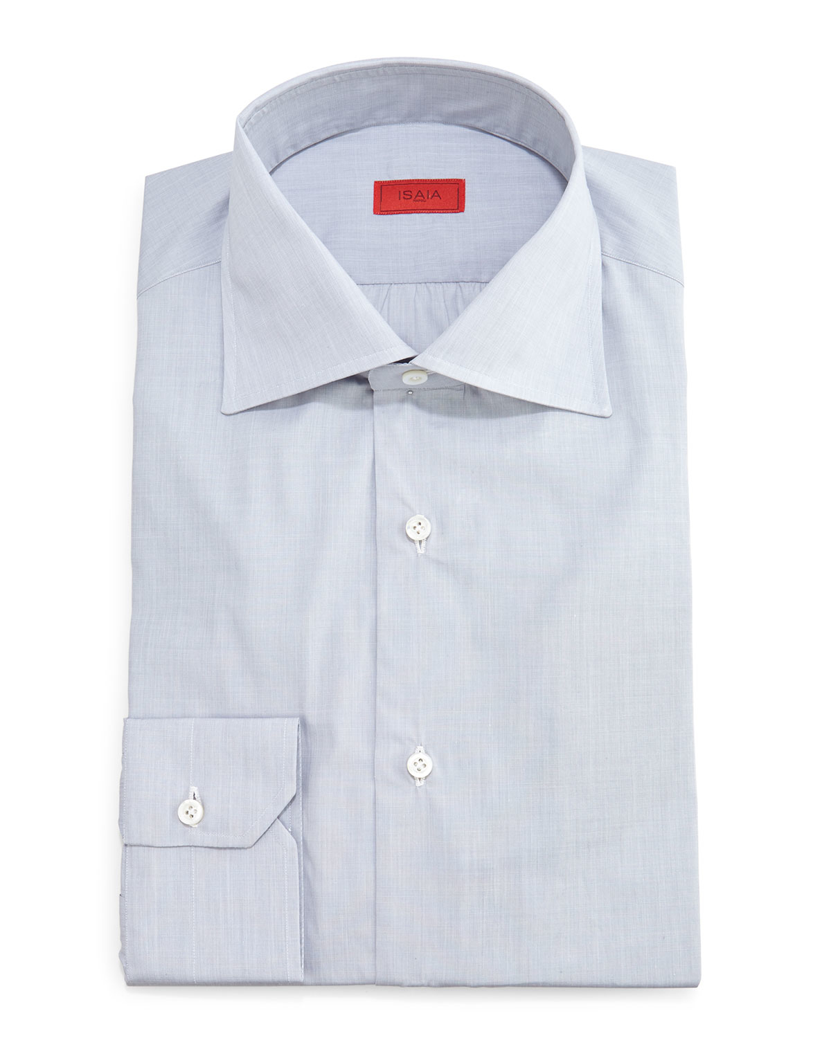 Isaia solid button down dress shirt in gray for men lyst for Mens grey button down dress shirt