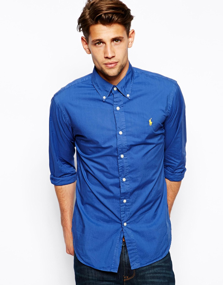 lyst polo ralph lauren shirt in poplin in slim fit in blue for men. Black Bedroom Furniture Sets. Home Design Ideas